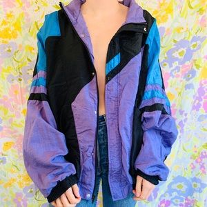 [vintage] 80s 90s Neon Retro Windbreaker Jacket